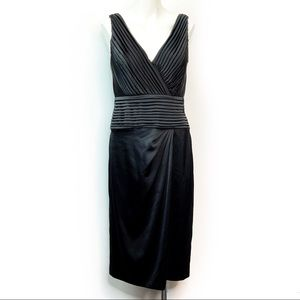 Tadashi Collection Black Pleated V-Neck Dress 10